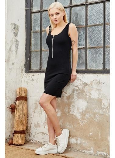 Reyon REYON Kadın Yarım Fermuarlı Askılı Elbise Siyah Siyah